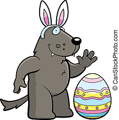 Cartoon Easter Wolf