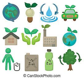 cartoon eco set icon
