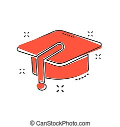 Cartoon education hat icon in comic style. Bachelor cap illustration pictogram. Education sign splash business concept.