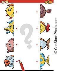 cartoon educational halves task - Cartoon Illustration of...