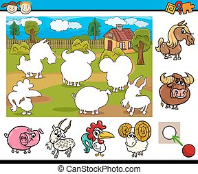 cartoon educational task for kids - Cartoon Illustration of...