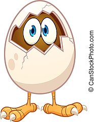 Cartoon egg - Cartoon chicken egg with eyes popping out....