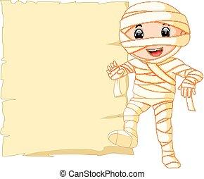 Cartoon Egyptian mummy with blank sign