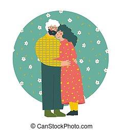Cartoon elderly couple. Modern flat vector illustration. Old people