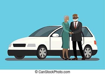 Cartoon elderly couple standing near the white car