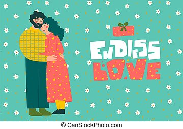 Cartoon elderly couple. Valentine's Day greeting card. Old people. Endless love - hand leyyering.