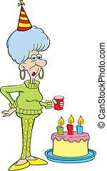 Cartoon illustration of an elderly women with a birthday cake.