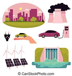 Cartoon electric car infographic elements