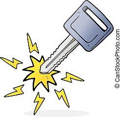cartoon electric car key - freehand drawn cartoon electric...