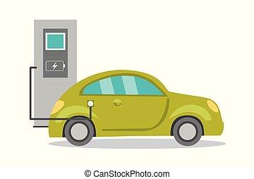 Cartoon electric car on recharging,