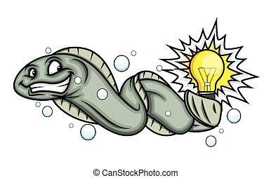 Cartoon Electric Fish Vector Illustration