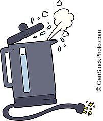 cartoon electric kettle boiling