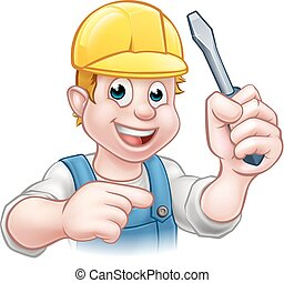 Cartoon Electrician Holding Screwdriver