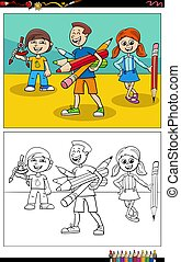 Cartoon illustration of elementary school children or pupils comic characters coloring book page