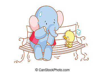 cartoon elephant and a cute chick