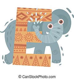 Cartoon elephant and letter E. Vector illustration on a white background.