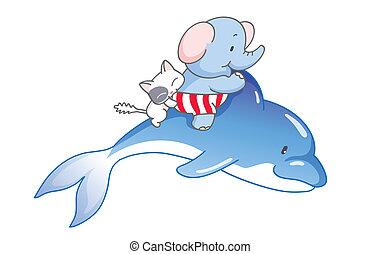 cartoon elephant and the cat