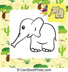 Cartoon elephant. Coloring page
