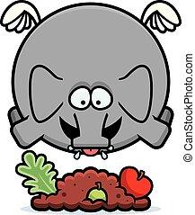 Cartoon Elephant Eating - A cartoon illustration of an...