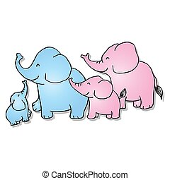 Cartoon elephant family on white background.