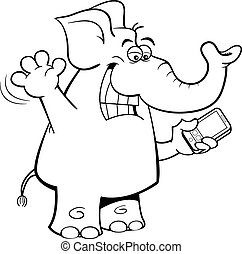 Cartoon elephant holding a cell phone.