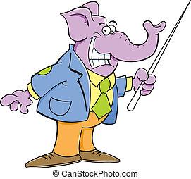 Cartoon elephant holding a pointer