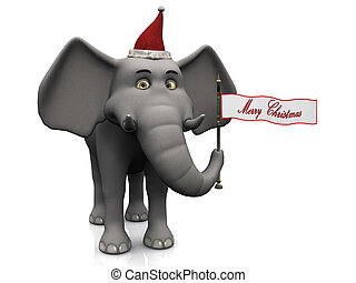 Cartoon elephant holding merry christmas flag.