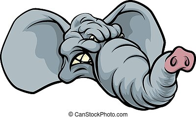 Cartoon Elephant Mascot - An illustration of a fierce...