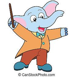 Cartoon Elephant music conductor.