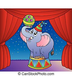 Cartoon elephant on circus stage 1 - vector illustration.