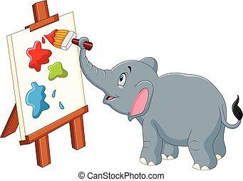 Cartoon elephant painting