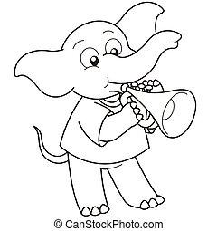 Cartoon Elephant Playing a Trumpet - Cartoon Elephant...