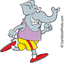 Cartoon elephant running
