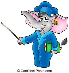 Cartoon elephant teacher - color illustration.