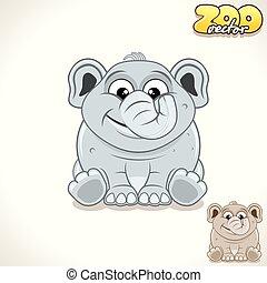 Cartoon Elephant. Vector Character