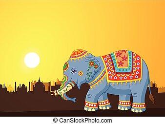 Cartoon elephant wearing costume