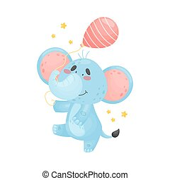Cartoon elephant with a balloon. Vector illustration on a white background.
