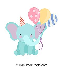 Cartoon elephant with balloons. Vector illustration on a white background.