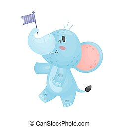 Cartoon elephant with flag. Vector illustration on a white background.