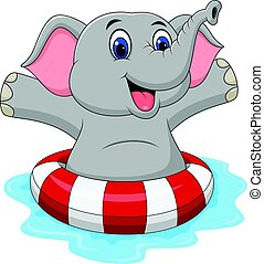 Cartoon elephant with inflatable ring - Vector illustration...