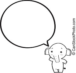 cartoon elephant with speech bubble