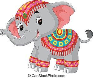 Cartoon elephant with traditional costume