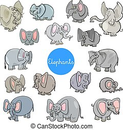 cartoon elephants animal characters collection