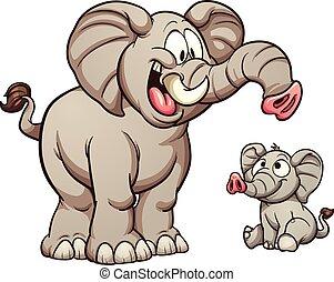 Cartoon elephants - Big and small cartoon elephants. Vector...