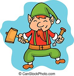 Cartoon elf helper with hammer Christmas