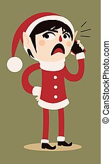 Cartoon Elf Holding a Cell Phone