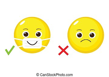 Cartoon emoji with and without medical mask - Cartoon emoji ...
