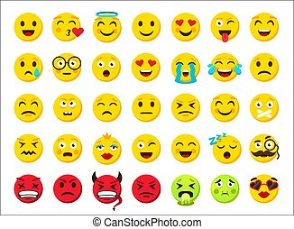 Cartoon emoji. Yellow and red evil round smiley, fun and sad facial emotion clipart. Online messenger sticker. Smile emoticon symbols, chat icons. Vector web template isolated set
