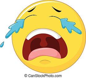 Cartoon emoticon crying isolated on white background