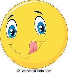 Cartoon emoticon delicious - Vector illustration of Cartoon...